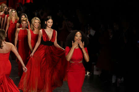 associations: NEW YORK, NY - FEBRUARY 11: Celebrities walk the runway finale  at The American Heart Associations Go Red For Women Red Dress Collection 2016 Presented By Macys on February 11, 2016 in NYC.