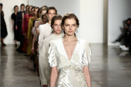 brock: NEW YORK, NY - FEBRUARY 11: Models walk the runway finale at Brock Collection fashion show during Fall 2016 MADE Fashion Week on February 11, 2016 in NYC.