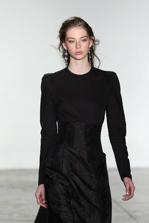brock: NEW YORK, NY - FEBRUARY 11: A model walks the runway at Brock Collection fashion show during Fall 2016 MADE Fashion Week on February 11, 2016 in NYC.