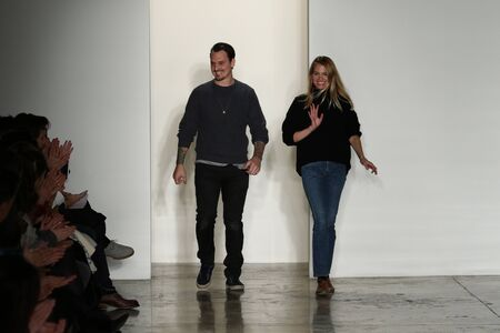 brock: NEW YORK, NY - FEBRUARY 11: Designers Kris Brock and Laura Vassar walk the runway at Brock Collection fashion show during Fall 2016 MADE Fashion Week on February 11, 2016 in NYC. Editorial