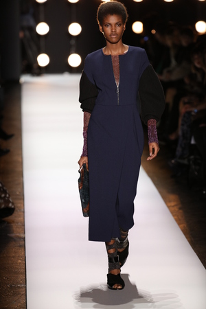 legging: NEW YORK, NY - FEBRUARY 11: A model walks the runway at the BCBGMAXAZRIA Fall 2016 fashion show during New York Fashion Week  on February 11, 2016 in NYC. Editorial