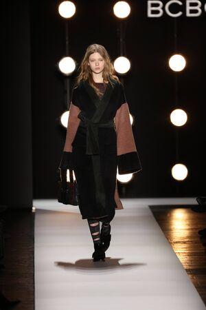 lurex: NEW YORK, NY - FEBRUARY 11: A model walks the runway at the BCBGMAXAZRIA Fall 2016 fashion show during New York Fashion Week  on February 11, 2016 in NYC. Editorial