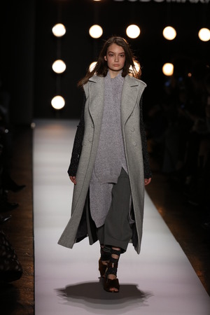 gunmetal: NEW YORK, NY - FEBRUARY 11: A model walks the runway at the BCBGMAXAZRIA Fall 2016 fashion show during New York Fashion Week  on February 11, 2016 in NYC. Editorial