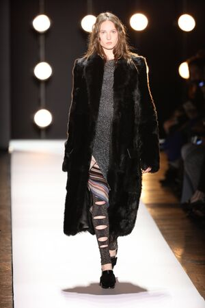 NEW YORK, NY - FEBRUARY 11: A model walks the runway at the BCBGMAXAZRIA Fall 2016 fashion show during New York Fashion Week  on February 11, 2016 in NYC. Editorial