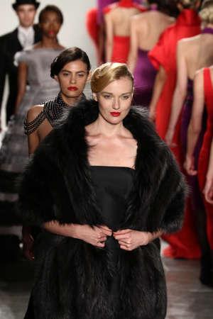 black boa: NEW YORK, CA - FEBRUARY 13: Models walk the runway finale at the Zang Toi Fall 2016 Fashion show during New York Fashion Week on February 13, 2016 in NYC. Editorial
