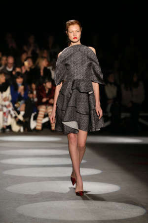 cable knit: NEW YORK, NY - FEBRUARY 13: A model walks the runway wearing Christian Siriano Fall 2016 during New York Fashion Week on February 13, 2016 in NYC.