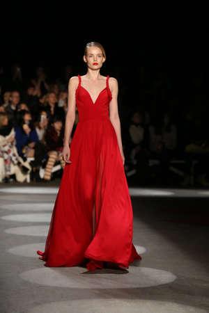 NEW YORK, NY - FEBRUARY 13: A model walks the runway wearing Christian Siriano Fall 2016 during New York Fashion Week on February 13, 2016 in NYC.