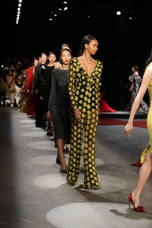 v neck: NEW YORK, NY - FEBRUARY 13: Models walk the runway wearing Christian Siriano Fall 2016 during New York Fashion Week on February 13, 2016 in NYC. Editorial