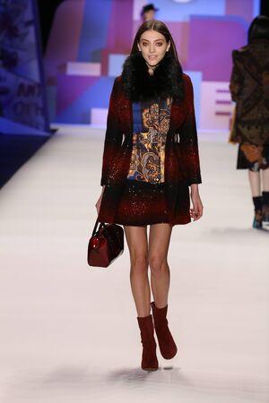 anorak: NEW YORK, NY - FEBRUARY 11: A model walks the runway wearing Desigual Fall 2016 on February 11, 2016 in New York City.