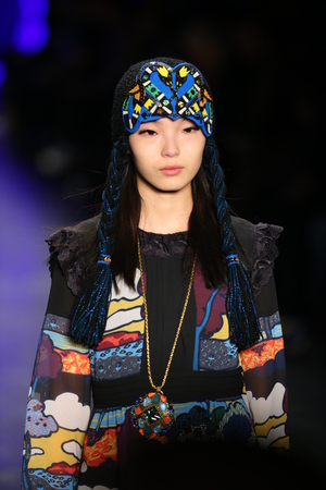 lucy: NEW YORK, NY - FEBRUARY 17: A model walks the runway at the Anna Sui Fall 2016 show during New York Fashion Week on February 17, 2016 in NYC.