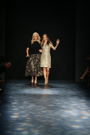 chapman: NEW YORK, NY - FEBRUARY 17: Designers Keren Craig (L) and Georgina Chapman greet the audience after presenting  Marchesa Fall 2016 Collection during New York Fashion Week on February 17, 2016 in NYC.