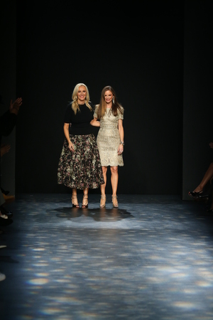 georgina: NEW YORK, NY - FEBRUARY 17: Designers Keren Craig (L) and Georgina Chapman greet the audience after presenting  Marchesa Fall 2016 Collection during New York Fashion Week on February 17, 2016 in NYC.