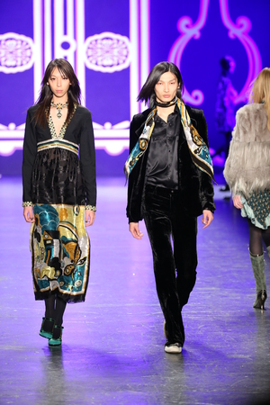 sui: NEW YORK, NY - FEBRUARY 17: Models walk the runway at the Anna Sui Fall 2016 show during New York Fashion Week on February 17, 2016 in NYC. Editorial