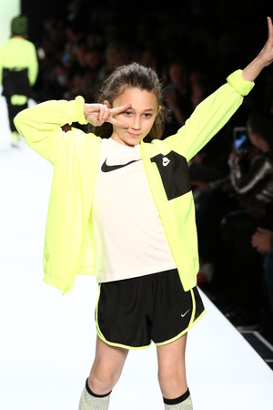 see the usa: NEW YORK, NY - FEBRUARY 11: Kid perform on the runway during Rookie USA Presents Kids Rock! Fall 2016 at New York Fashion Week on February 11, 2016 in NYC.