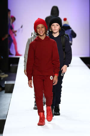 see the usa: NEW YORK, NY - FEBRUARY 11: Kids perform on the runway during Rookie USA Presents Kids Rock! Fall 2016 at New York Fashion Week on February 11, 2016 in NYC. Editorial