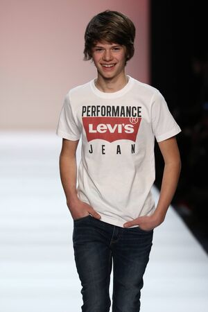 levis: NEW YORK, NY - FEBRUARY 11: Kid performs on the runway during Rookie USA Presents Kids Rock! Fall 2016 at New York Fashion Week on February 11, 2016 in NYC.