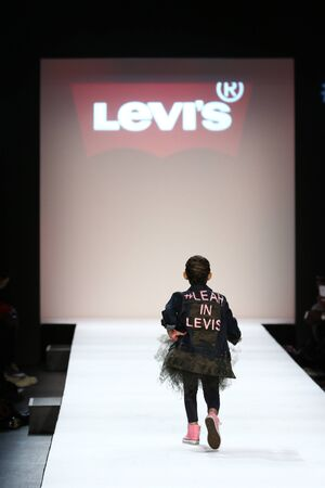 levi: NEW YORK, NY - FEBRUARY 11: Kid performs on the runway during Rookie USA Presents Kids Rock! Fall 2016 at New York Fashion Week on February 11, 2016 in NYC.