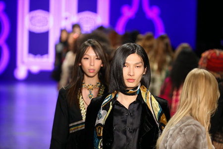 sui: NEW YORK, NY - FEBRUARY 17: Models walk the runway finale at the Anna Sui Fall 2016 show during New York Fashion Week on February 17, 2016 in NYC.