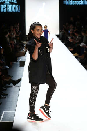see the usa: NEW YORK, NY - FEBRUARY 11: Kid performs on the runway during Rookie USA Presents Kids Rock! Fall 2016 at New York Fashion Week on February 11, 2016 in NYC.