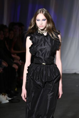 jill: NEW YORK, NY - FEBRUARY 13: : A model walks the runway during the Jill Stuart  Fall-Winter 2016 Collection Show on February 13, 2016 in New York City.