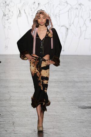 NEW YORK, NY - FEBRUARY 16: A model walks the runway at The Art Institutes Fall 2016 fashion show during New York Fashion Week on February 16, 2016 in NYC. Editorial