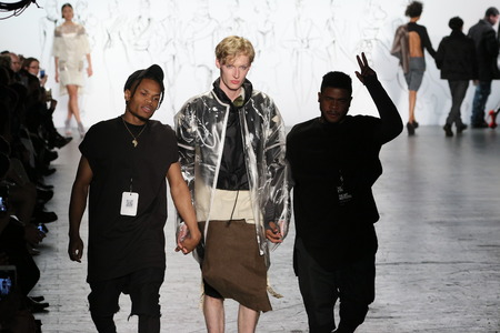 christopher: NEW YORK, NY - FEBRUARY 16: Designers Djoones Demar Lee Altenor and Christopher Leveille and model walks the runway at The Art Institutes Fall 2016 fashion show during New York Fashion Week on February 16, 2016 in NYC. Editorial