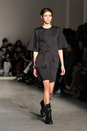 make public: NEW YORK, NY - FEBRUARY 14: A model walks the runway wearing Public School Fall 2016 during New York Fashion Week on February 14, 2016 in NYC. Editorial