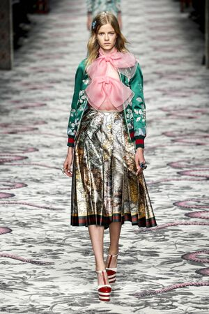MILAN, ITALY - SEPTEMBER 23: A model walks the runway during the Gucci show as a part of Milan Fashion Week SpringSummer 2016 on September 23, 2015 in Milan, Italy.