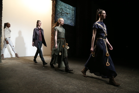 NEW YORK, NY - FEBRUARY 15: Models walk the runway wearing Di Yusupoff at Nolcha Shows During NYFW Womens FallWinter 2016 at ArtBeam on February 15, 2016 in New York City.