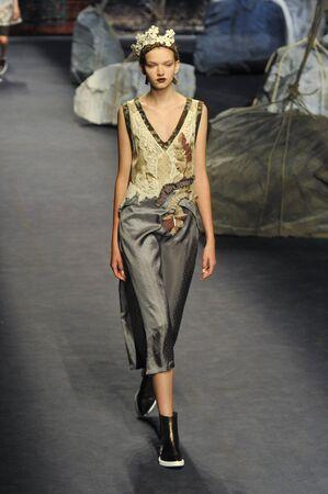 MILAN, ITALY - SEPTEMBER 26: A model walks the runway during the Antonio Marras show as a part of Milan Fashion Week SpringSummer 2016 on September 26, 2015 in Milan, Italy. Sajtókép