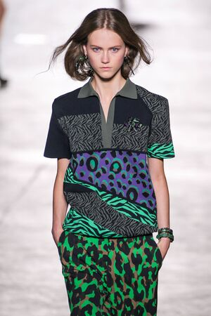 MILAN, ITALY - SEPTEMBER 25: A model walks the runway during the Versace fashion show as part of Milan Fashion Week SpringSummer 2016 on September 25, 2015 in Milan, Italy. Editorial