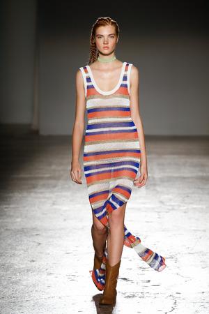informal clothing: MILAN, ITALY - SEPTEMBER 24: A model walks the runway during the Cristiano Burani fashion show as part of Milan Fashion Week SpringSummer 2016 on September 24, 2015 in Milan, Italy.