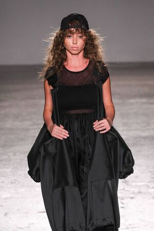 MILAN, ITALY - SEPTEMBER 26: A model walks the runway during the Sergei Grinko show as a part of Milan Fashion Week Womenswear SpringSummer 2016 on September 26, 2015 in Milan, Italy.