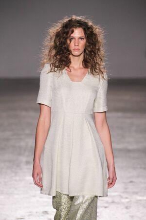 MILAN, ITALY - SEPTEMBER 26: A model walks the runway during the Sergei Grinko show as a part of Milan Fashion Week Womenswear SpringSummer 2016 on September 26, 2015 in Milan, Italy.
