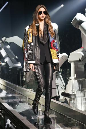 plein: MILAN, ITALY - SEPTEMBER 23: A model walks the runway during the Philipp Plein show as a part of Milan Fashion Week SpringSummer 2016 on September 23, 2015 in Milan, Italy.