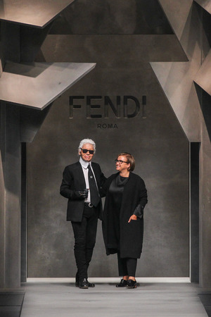 karl: MILAN, ITALY - SEPTEMBER 24: Karl Lagerfeld, Silvia Fendi walk the runway during the Fendi fashion show as part of MFW SS 2016 on September 24, 2015 in Milan, Italy. Editorial
