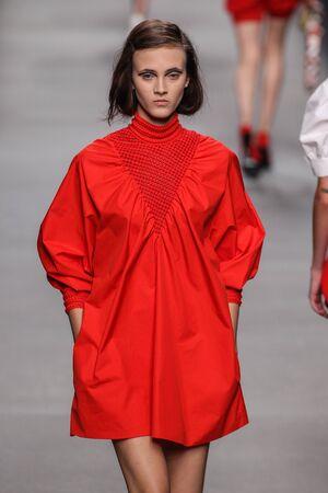 MILAN, ITALY - SEPTEMBER 24: A model walks the runway during the Fendi fashion show as part of Milan Fashion Week SpringSummer 2016 on September 24, 2015 in Milan, Italy.