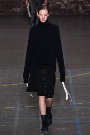 show bill: PARIS, FRANCE - MARCH 06: Model Eva Varlamova walks the runway during the John Galliano show as part of the PFW FallWinter 201617 on March 6, 2016 in Paris, France.