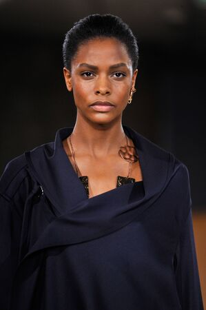 lvmh: PARIS, FRANCE - MARCH 4: Model Karly Loyce walks runway at the Loewe show during Paris Fashion Week AutumnWinter 201617 on March 4, 2016 in Paris, France.