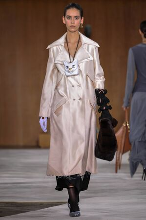 nirvana: PARIS, FRANCE - MARCH 4: Model Nirvana Naves walks runway at the Loewe show during Paris Fashion Week AutumnWinter 201617 on March 4, 2016 in Paris, France. Editorial