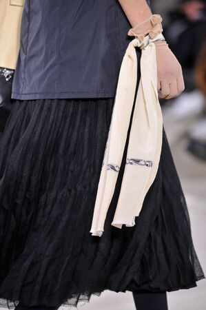 extra large: PARIS, FRANCE - MARCH 4: A Model walks runway (detail) at the Loewe show during Paris Fashion Week AutumnWinter 201617 on March 4, 2016 in Paris, France.