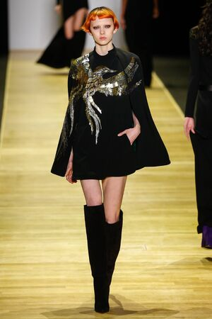 eagle falls: PARIS, FRANCE - MARCH 03: A model walks the runway during the Barbara Bui show as part of the Paris Fashion Week Womenswear FallWinter 20162017 on March 3, 2016 in Paris, France.