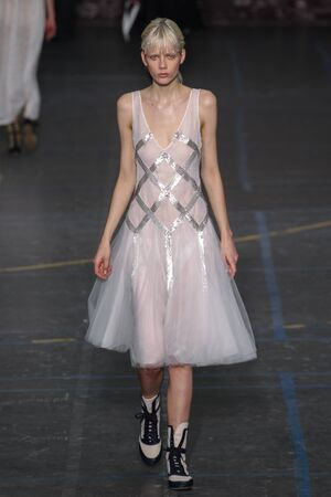 show bill: PARIS, FRANCE - MARCH 06: Model Marjan Jonkman walks the runway during the John Galliano show as part of the PFW FallWinter 201617 on March 6, 2016 in Paris, France.