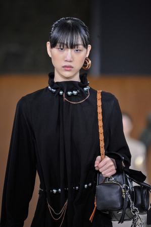 extra large: PARIS, FRANCE - MARCH 4: A Model walks runway at the Loewe show during Paris Fashion Week AutumnWinter 201617 on March 4, 2016 in Paris, France. Editorial