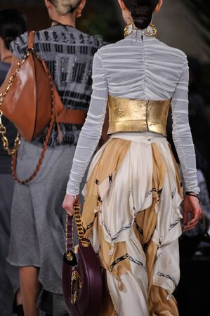 lvmh: PARIS, FRANCE - MARCH 4: A Model walks runway (details) at the Loewe show during Paris Fashion Week AutumnWinter 201617 on March 4, 2016 in Paris, France.
