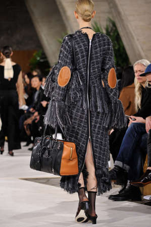 lvmh: PARIS, FRANCE - MARCH 4: A Model walks runway (detail) at the Loewe show during Paris Fashion Week AutumnWinter 201617 on March 4, 2016 in Paris, France.