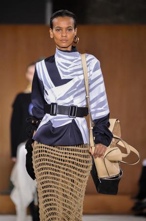 lvmh: PARIS, FRANCE - MARCH 4: Model Liya Kebede walks runway at the Loewe show during Paris Fashion Week AutumnWinter 201617 on March 4, 2016 in Paris, France.
