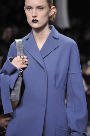 outwear: PARIS, FRANCE - MARCH 04: A model walks the runway during the Christian Dior show as part of the Paris Fashion Week Womenswear FW201617 on March 4, 2016 in Paris, France.