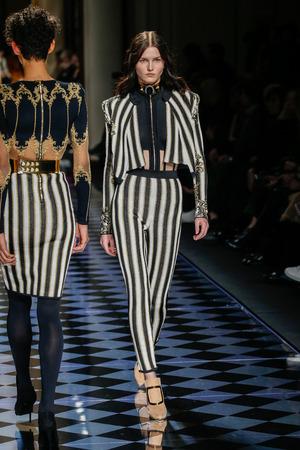 aas: PARIS, FRANCE - MARCH 03: Katlin Aas walks the runway during the Balmain show as part of the Paris Fashion Week Womenswear FallWinter 20162017 on March 3, 2016 in Paris, France.