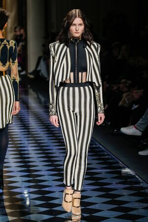 aas: PARIS, FRANCE - MARCH 03: Katlin Aas walks the runway during the Balmain show as part of the Paris Fashion Week Womenswear FallWinter 20162017 on March 3, 2016 in Paris, France.